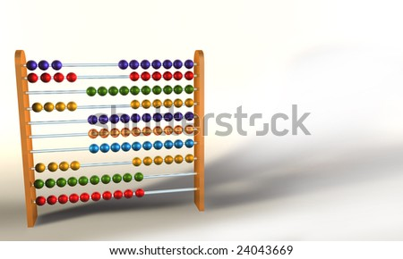 Colored Abacus on white background - stock photo