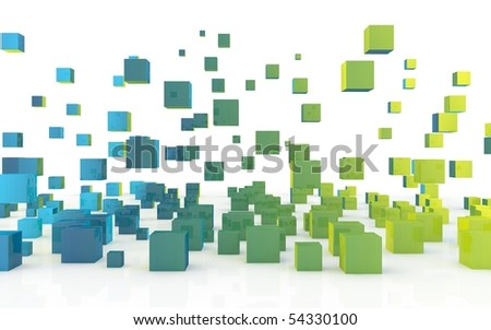 colored abstract blocks - stock photo