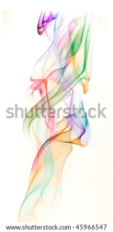 Colored abstract smoke on white background