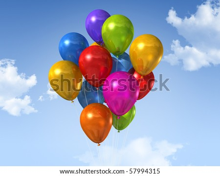colored air balloons floating on a blue sky - stock photo