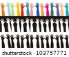colored and black and white hands - stock vector