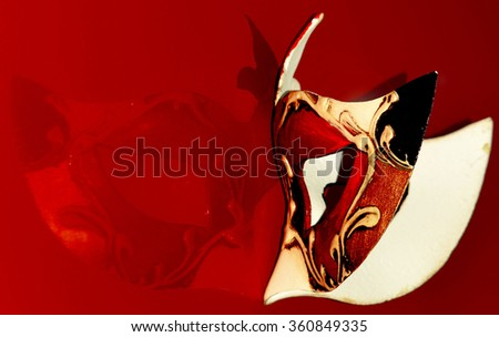colored and decorated carnival mask - stock photo