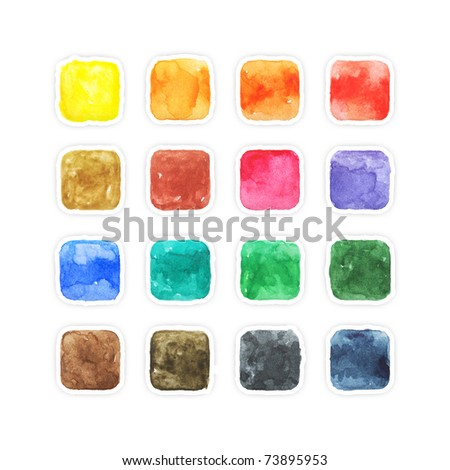 Colored aquarelle blank web buttons with gray drop shadow on white background - stock photo
