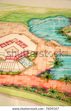 colored architectural plans for home and landscaping - stock photo