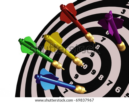 Colored arrows on the center of target. - stock photo