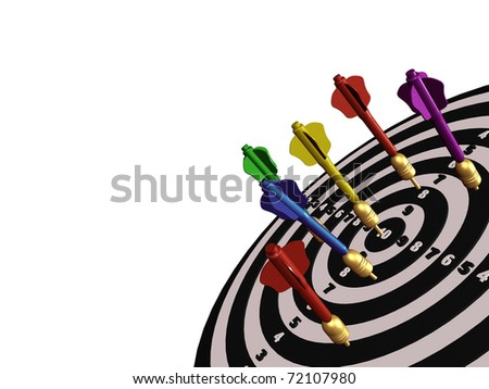 Colored arrows on the center of target.