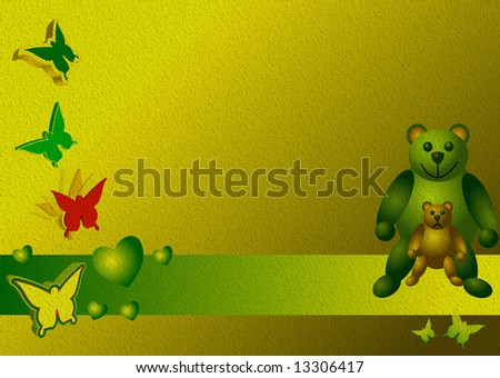 Colored background with green banner, heart shapes, butterflies and teddy bears - stock photo