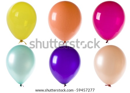 Colored balloons isolated on white - stock photo