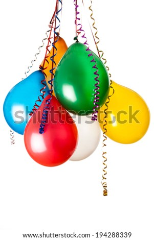 colored balloons isolated on white with hanging holiday streamers - stock photo