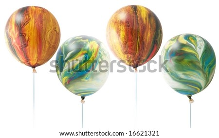 Colored balloons on a white background - stock photo