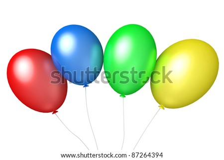colored balloons on white background