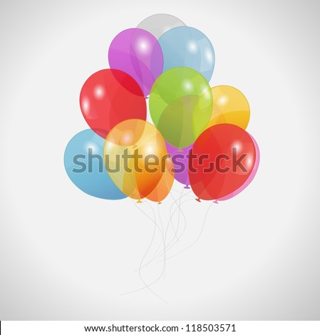 colored balloons, Raster Version.