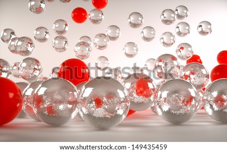 colored balls front view of a light background - stock photo