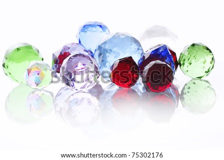 colored balls, glass, bubbles, diamond, crystal white, red, clean, paint, blue, multi-colored glass, - stock photo