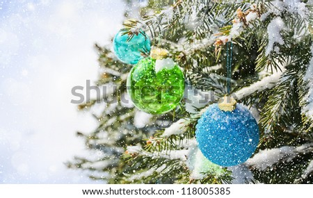 Colored balls on the Christmas tree - stock photo