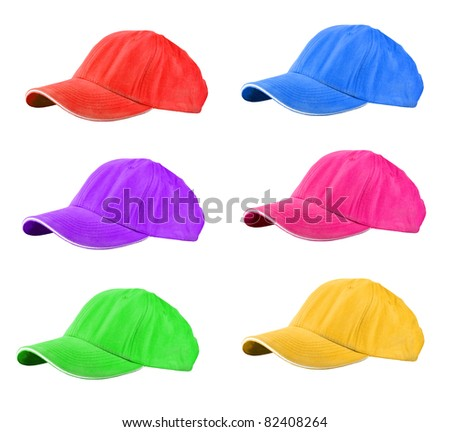 colored Baseball Caps isolated on white - stock photo