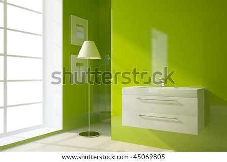 colored bathroom with lamp - stock photo