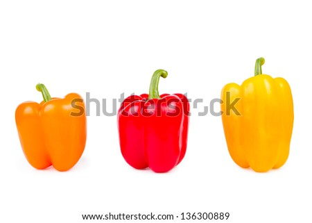 Colored bell pepper isolated on white background - stock photo