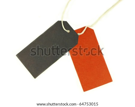 Colored blank tags isolated on white background