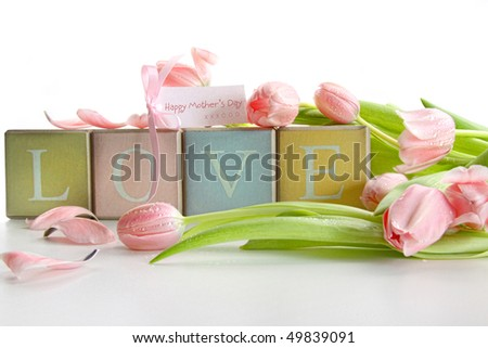 Colored blocks with tulips and gift card on white - stock photo