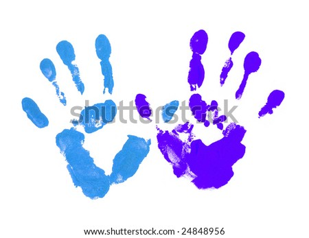 Colored blue fingers on the white - stock photo