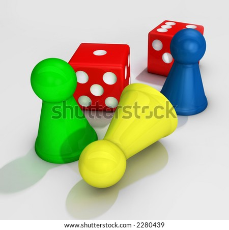 colored board game figures with two dices - stock photo