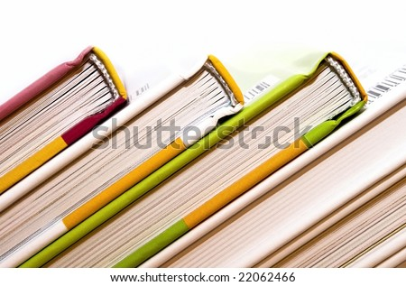 Colored books each other bust. - stock photo