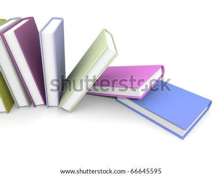 Colored books isolated on white - stock photo