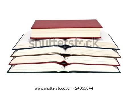Colored books white background isolate. - stock photo