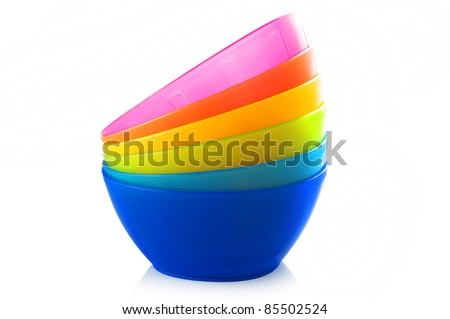 Colored bowl on the white