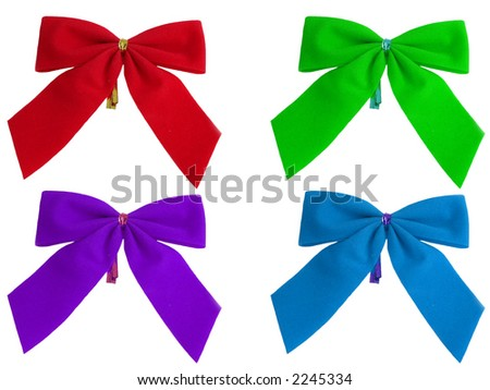 Colored bows on a white background