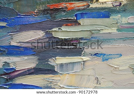 Colored brushstrokes in oil on canvas - stock photo