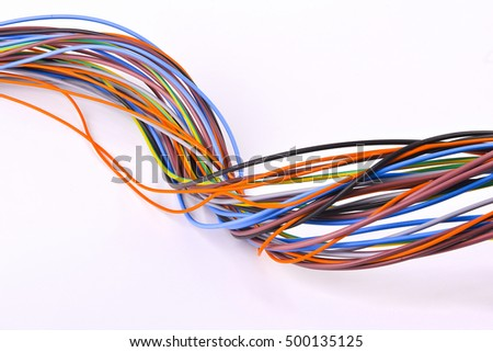 colored bundle of electrical cables