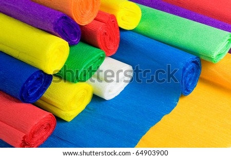 Colored bundles of crepe paper - stock photo