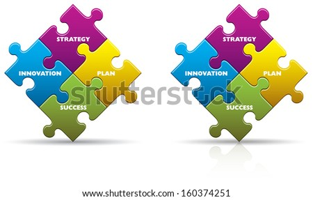 Colored business innovation puzzle pieces with a shadow and reflection - stock photo
