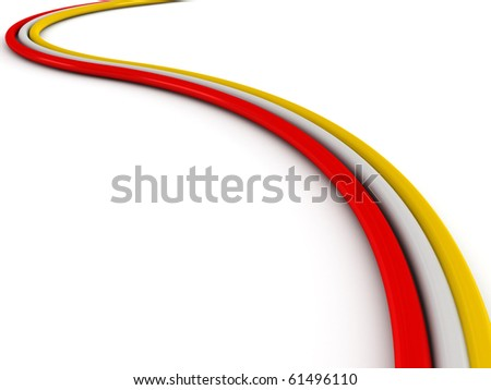 Colored cable isolated on white background. High quality 3d render. - stock photo