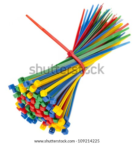 colored cable ties isolated against white background - stock photo