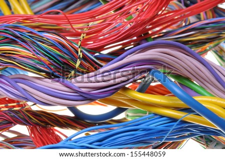 Colored cables in the global networks  - stock photo