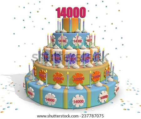 colored cake with number 14000 at the top . Celebrating a birthday , anniversary , winner, or something else. - stock photo
