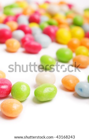 colored candy on white - stock photo