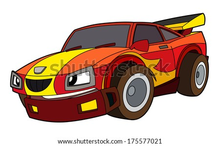 Colored car - illustration for the children - stock photo