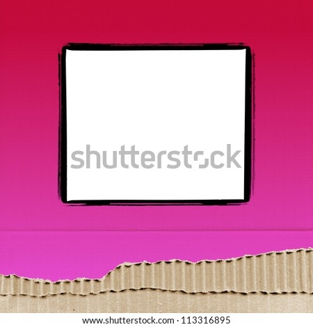 colored cardboard background paper texture with photo frame - pink - stock photo