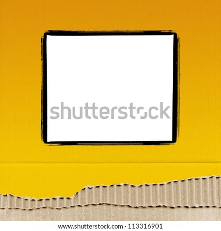colored cardboard background paper texture with photo frame - yellow - stock photo