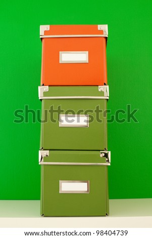 colored cardboard boxes - stock photo