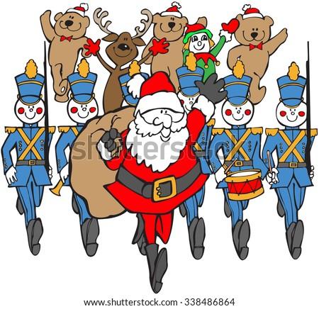 colored cartoon santa marchers christmas parade stock illustration rh shutterstock com Church Christmas Parade Clip Art Christmas Parade Float Clip Art