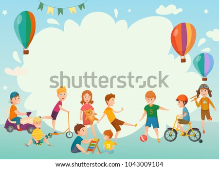 Colored Cartoon Playing Kids Background Frame Stock Illustration ...