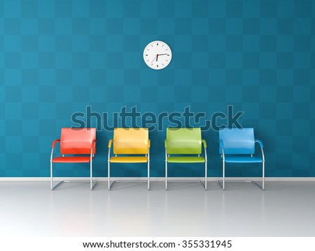 Colored chairs ai the blue waiting room