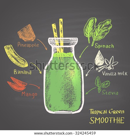 Colored chalk drawn illustration of tropical green smoothie in a bottle with ingredients. Sugar free! - stock photo