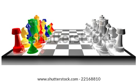 Colored chess concept against black and white isolated on white background