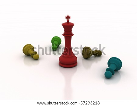 colored chess figures - stock photo